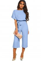 VZFF Sky Blue Always Chic Belted Culotte Jumpsuit