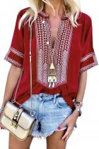 VZFF Red Elbow Length Sleeves Front Embroidery Blouse