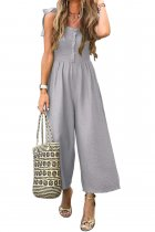 VZFF Gray Button Down Sleeveless Wide Leg Jumpsuit