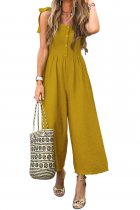 VZFF Yellow Button Down Sleeveless Wide Leg Jumpsuit
