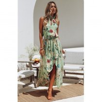 Fashion Lady Sleeve Bohemian Flower Print Turtleneck Beach Dress Off Shoulder High Waist Vacation Casual Loose Dress Sizes S-XL