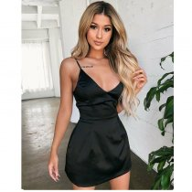 New Sexy Woman Summer V-neck Smooth High Waist Dress Solid Color Tight-fitting Short-sleeved Fashion Party Dress Sizes S-XL