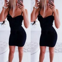 Sexy Backless Black Women Dresses Bandage Bodycon Tops Sleeve Evening Party Solid Color Club Long Tank Dress Femme