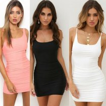 Sexy Backless Solid Color Women Dresses Bodycon Sleeveless Casual Evening Party Pencil Mini Dress Femme