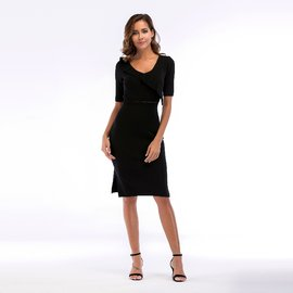 VZFF Black  Bodycon Pencil Midi Dress women clothing waist hollow knit bandage dresses Women  Weekend Casual  Dress