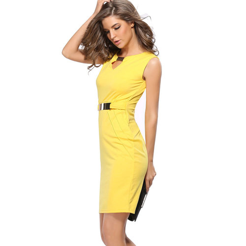 Women Summer Geometric Stitching Color Short Sleeves Slim Pencil Latest Formal Dress Patterns