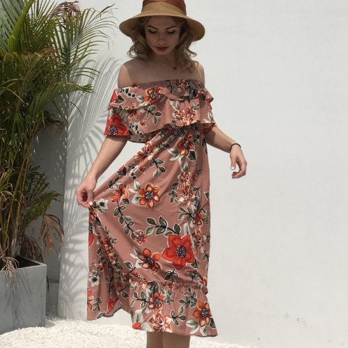 Summer Wrap Chiffon Print Stitched One-Shoulder Dress