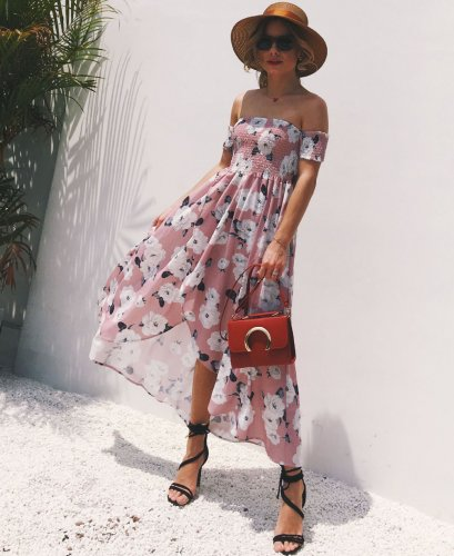 Chiffon printed short-sleeved tube top one-shoulder dress