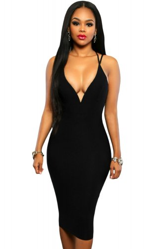 Black Double Straps Cross Back V Neck Calf Length Dress