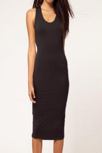 Black Cut out Backless O Neck Bodycon Midi Dress