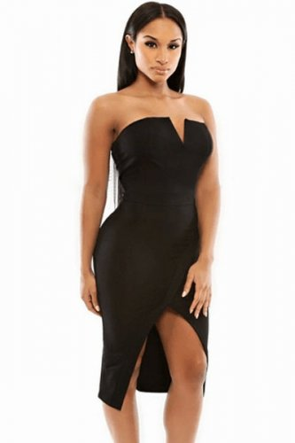 Black V Cut Bust Slim Fit Front Slit Midi Dress