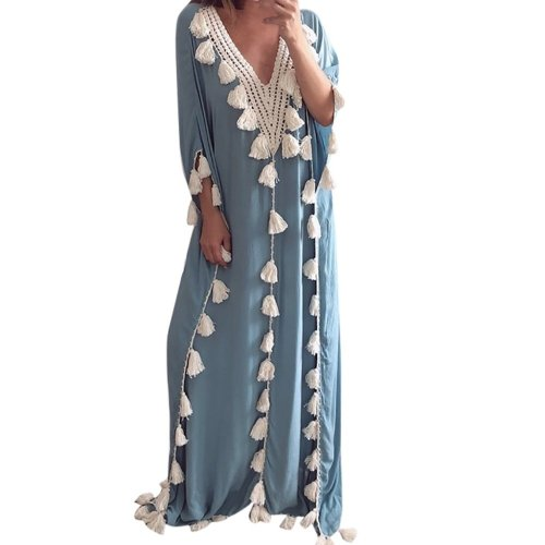 Women's Bohemia Maxi  Dress Ethnic Style Tassel Beach Summer Holiday Party Dress