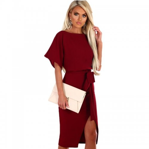 Fashion Women's Summer Retro Style Straps High Waist Solid Color Dress Round Neck Split Short Sleeve Bag Hip Slim Dress