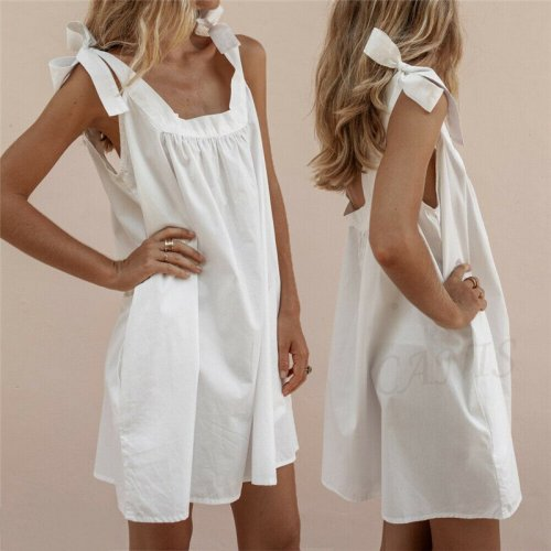 New Solid Color Bandage Women Dresses Sleeveless Boho Party Casual Cotton Linen Kaftan Mini A-Line Dress Femme