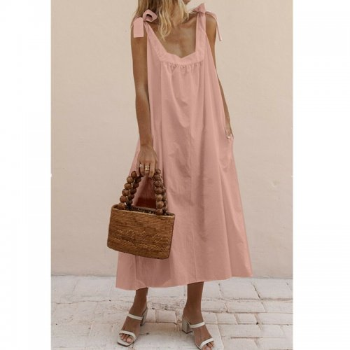 2019 New Women's Bohemian Style Solid Color Square Collar Strap Dress Dress Backless Loose Straight Casual Pocket Ankle Dress