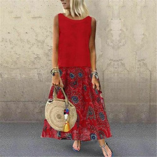New Cotton And Linen Vintage Printing Womens Dresses Sleeveless Boho Party Casual Linen Kaftan Maxi Dress Long Dresses