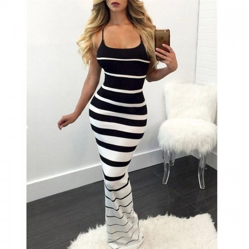 Sexy Women's Round Neck Cross-Color Striped Print Dress Bohemian Style High Waist Slim Bag Hip Mopping Dress Sizes S-XL