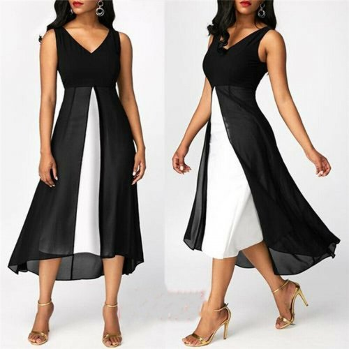 Plus Size S-5XL Women Colorblock Dress Holiday Long Tops Casual Ladies Summer Beach Party Dress Femme