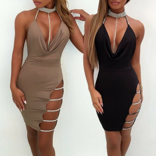 Women's Summer Sexy V-neck Low-breasted Halter Rhine-heeled Halter High-cut Dress High-waist Skinny Bag Solid Color Knee Dress