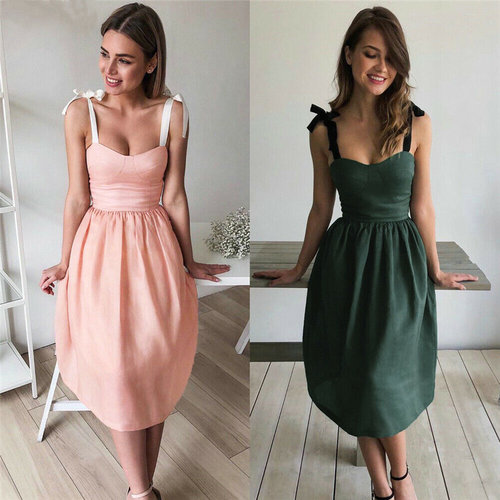 Summer Solid Color Women Bandage Dresses Summer Fashion Sleeveless Evening Party Beach Dress US