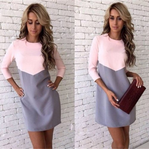 2019 New Fashion Spring Summer Dress Women Plus Size Sexy Slim Mini Patchwork Office Dress O-Neck Pencil Dresses Female Clothing