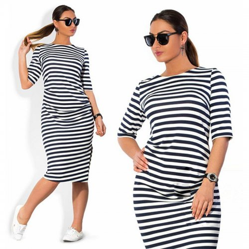 4XL 5XL 6XL Large Size 2019 Autumn Summer Dress Big Size Black White Striped Dress Straight Dresses Women Clothing Vestido