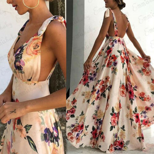 2019 New Women Boho Long Maxi Printed Dress Ladies Cocktail Party Backless V neck Summer Beach Sundress