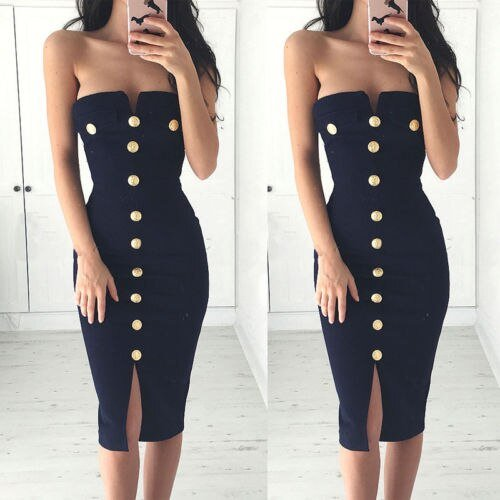 Women Sexy Bottom Down Bandage Bodycon Dress Evening Party Short Midi Dress Club