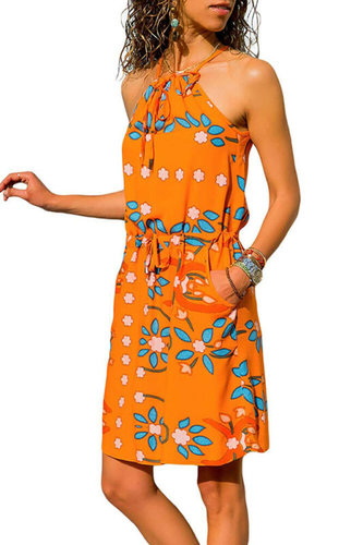 Ladies Women Floral Stripe Boho Summer Holiday Beach Halter Orange Sleeveless Midi Dress Summer Casual Sleeveless Sundress Skirt