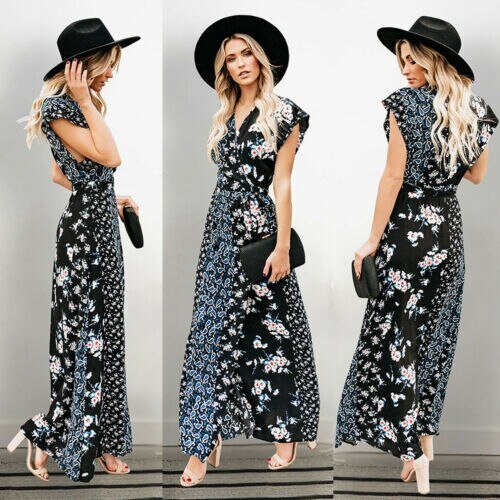 2019 Women's Boho Floral Chiffon Summer Party Evening Beach Long Maxi Dress Sundress