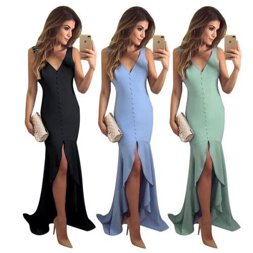 2019 Women's Sleeveless Bandage Bodycon Evening Party  Club Wear Sexy Long Dress