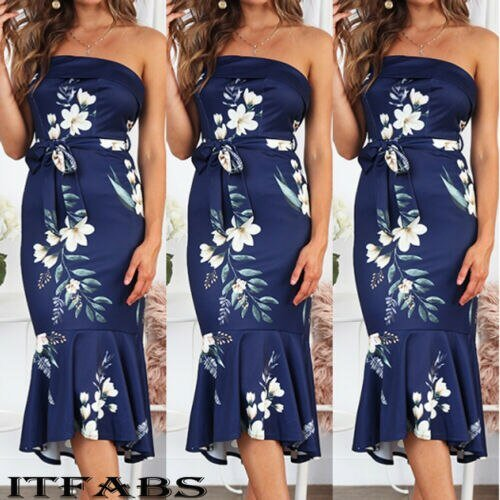 2019 Womens Boho Printed Strapless Dress Party Cocktail Dress Ladies Clubwear Sundress Summer