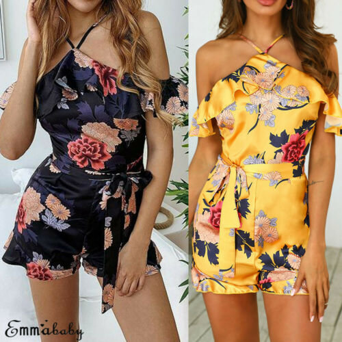 2019 Women Holiday Mini Playsuit Ladies Floral Summer Beach Dress Short Casual Dress
