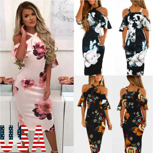 2019 Women's Bandage Bodycon Sleeveless Evening Party CLUB Wear Casual Printed Midi Dress