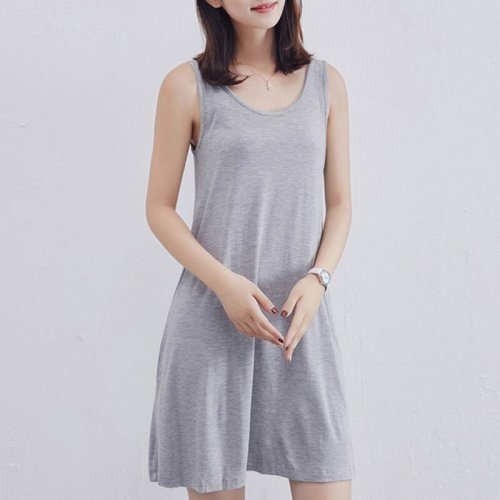 Casual Solid Loose A-line Tank Dresses Women O-neck Sleeveless Simple Dress Summer Ladies Comfortable Cotton Dress Vestidos New