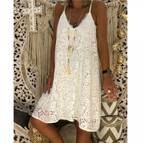 Sexy Spaghetti Strap Lace Loose Dresses Women Solid V-neck Knee-length Dress Plus Size Ladies Fashion Party Dress Summer Beach