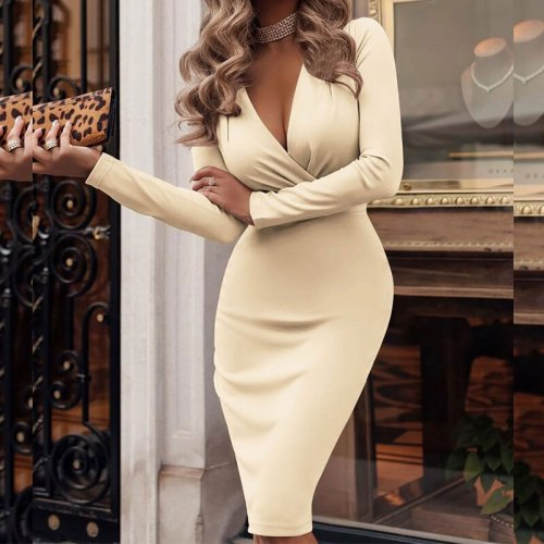 Sexy Deep V-neck Pleated Tight-fitting Dress Women Fashion Solid Long Sleeve Slim Dresses Ladies Elegant Luxury Party Dress New