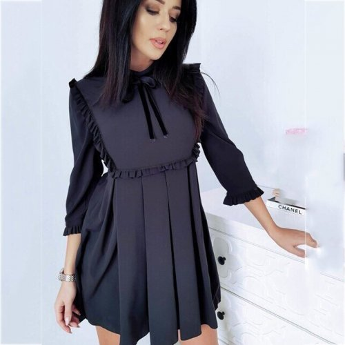 Solid O-neck 3/4 Sleeve Ruffles Mini A-line Dress Fashion Butterfly Sleeve Lacing Above-knee Dresses Ladies Elegant Party Dress
