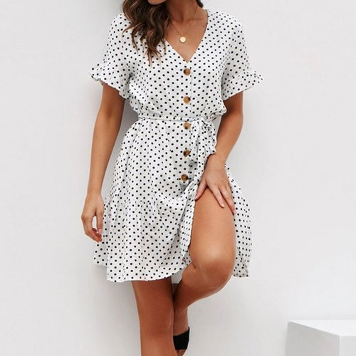 Sexy V-neck Chiffon Mini Dresses Women Casual Dot Print Lace Up Summer Dress Bohemian Ladies Fashion Loose A-line Dress Vestidos