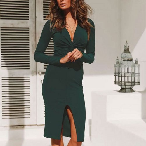 Deep V-neck Split Hem Slim Knee-length Dress Sexy Solid Long Sleeve Bodycon Dresses Spring Ladies Elegant Party Dress Plus Size