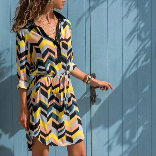 Colorful Striped Lacing Shirt Dress Women Turn-down Collar Button Loose Short Dresses Ladies Fashion Casual Dress Summer Beach