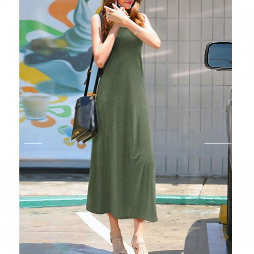 Solid Sleeveless Slim Long Dresses Women Casual V-neck Summer Tank Dress Female Fashion Simple Soft  A-line Dress Vestidos New