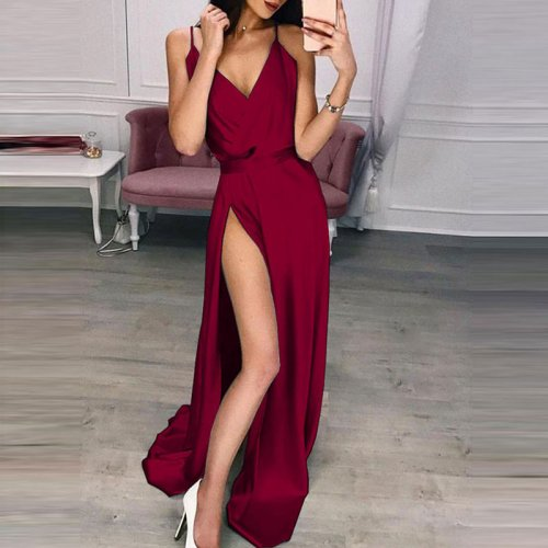 Solid Strap V-neck Split Floor-length Dresses Women Sexy Sleeveless High Waist Dress Summer Ladies Fashion Elegant Party Dress