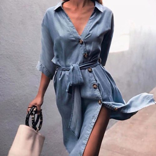 Sexy V-neck Button Lacing Shirt Dress Women Fashion Half Sleeve Loose Demin Dresses Ladies Elegant Party Dress Plus Size Spring