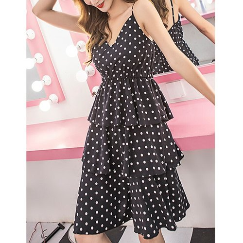 Sexy V-neck Dot Print Strap Dresses Women Fashion Off Shoulder Elastic Waist Dress Summer Ladies Elegant Party Dress Vestidis