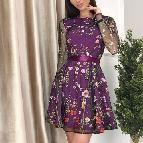 Vintage Floral Embroidered Mini Dress Women Summer Transparent Mesh Dress Long Sleeve Bohemian Plus Size A Line Dresses Vestidos