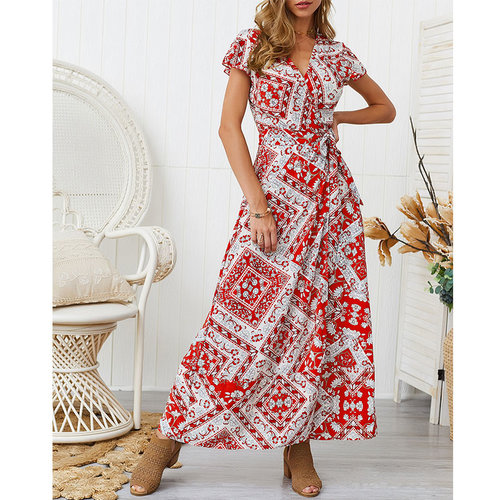 Sexy V-neck Print Lacing Ankle-length Dresses Women Casual Short Sleeve Split Dress Summer Bohemian Ladies Fashion Vintage Dress
