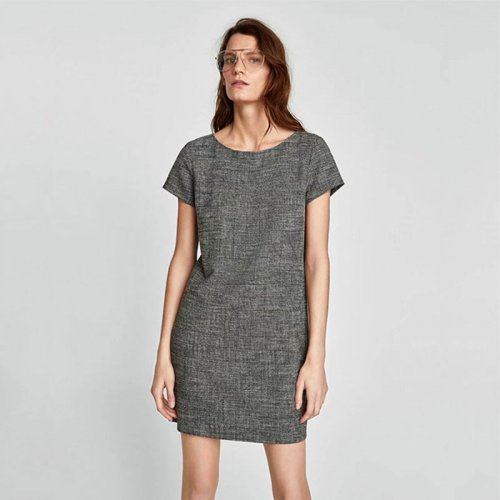 Short Sleeve O-neck Pullover Mini Straight Dress Women Elegant Gray Thin Above-knee Dresses Ladies Casual Dress Spring Early New