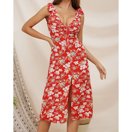 Deep V-neck Print Backless Midi Dresses Women Sexy Sleeveless Bow Hem Split Dress Summer Ladies Fashion Vintage Dress Vestidos