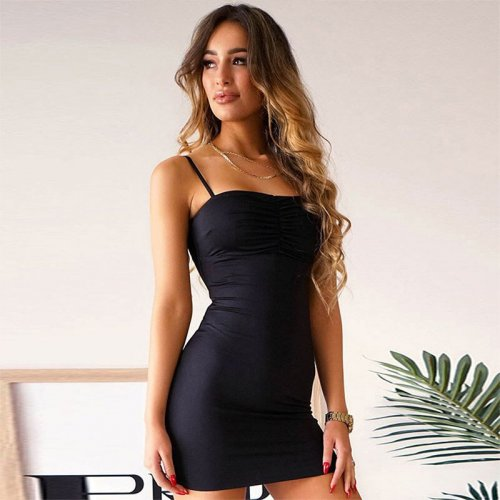 Sexy Solid Spaghetti Strap Slim Mini Dress Women Casual Off Shoulder Wild Bodycon Dress Summer Ladies Fashion Sexy Club Dress